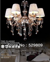 Free shipping E14*6 Cognac color contemporary chandeliers pendants Chandelier crystal D55*H100cm(include pendant chain 40cm)
