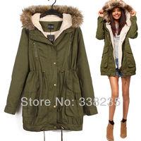 Beautiful 2013 new fashion green women winter jacket coat hooded warm parka women