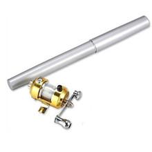 Sale Pen Shape Mini Portable Pocket Aluminum Alloy Fishing Fish Rod Pole with Reel hook gift