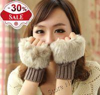 2013 Hot Sale Fashion  Popular Style Winter Arm Warmer Fingerless Gloves, Knitted Fur Trim Gloves Mitten For Autumn Winter