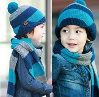 Free shipping Best Value Striped Scarf Hat Set For Children Winter Keep Warm Scarf Hat Set Three Colors 2 To 10 Years Old