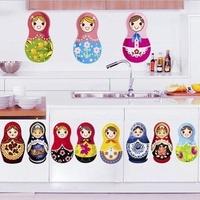 1set  High Quality Russian Babushka Dolls Windows Fridge Wall Sticker Home Baby Kids Girls Room Nursery Free Shipping