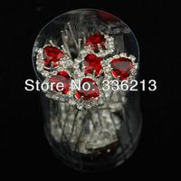 Heart Shape Red Resin Rhinestone Hair Ornament Pins, Hair Accessories