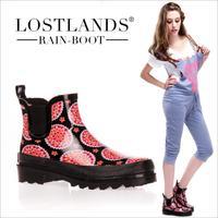Ankle Boots 2014 Fashion Women's Short Rubber Rain Boots Women's Tube Print Rainboots Mules Ankle Water Shoes Rubber Boots
