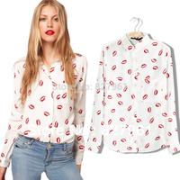 Autumn Brand New  Fashion Vintage Personality Sexy Red Lips Lipstick Chiffon Long Sleeve Shirt Women#01