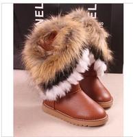 2013 snow boots fox fur faux color block women's shoes decoration tassel winter boots gaotong snow boots cotton-padded shoes