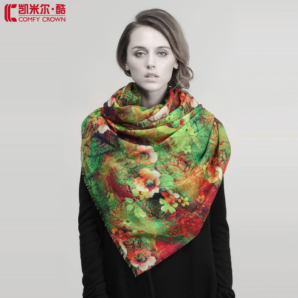 2014 NEW scarf for women SWW718 Digital printing classical SCARF China's fashionable beautiful wool scarf women shawl(China (Mainland))