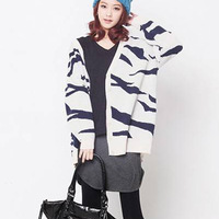 Supernova Sale 2013 Women V-Neck Loose Zebra Stripe Fashion Sweater  Free Size