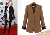 Promotion Tops American European style  Women coat Wool Medium-long  Black Brown Blazer Fashion Slim  plus size XXXL suit jacket