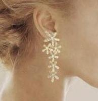 fashion gold flower full rhinestone ultra long earrings crystal E003
