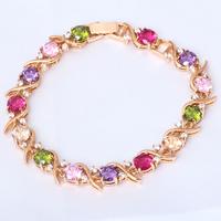 Best gifts Free shipping Multigem AAA Zircon & Crystal 18K k Gold Plated Bracelets Health Fashion jewelry TB220