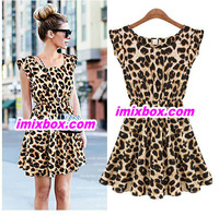New 2013 women one piece dress chiffon leopard print Casual Sundress big size M L XLFree shipping W3232