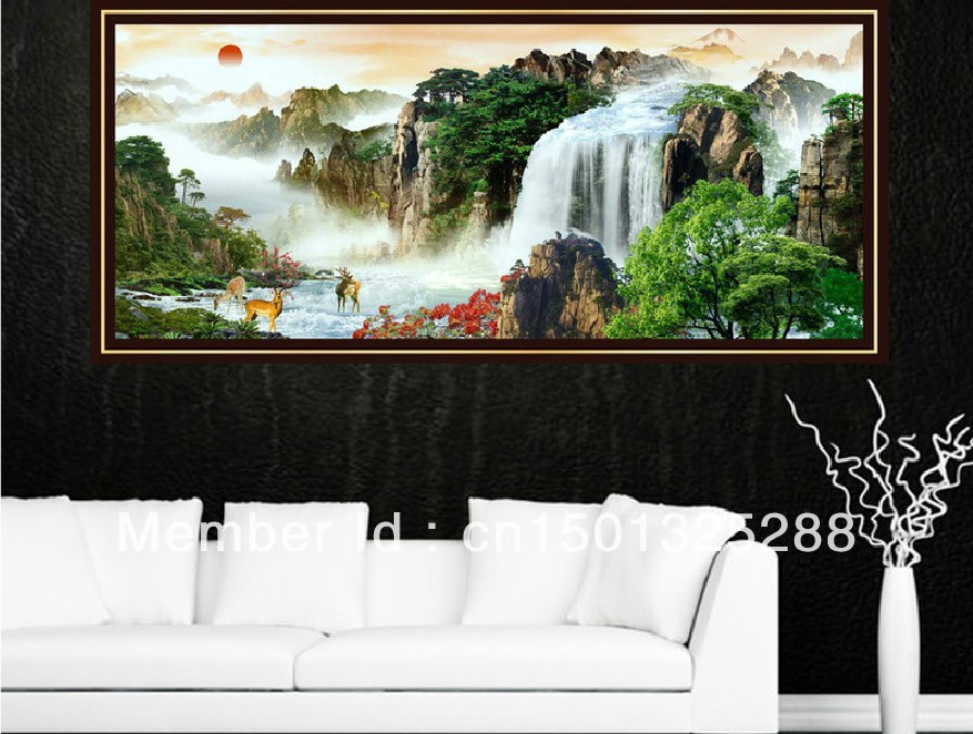 Fengshui Landscape KX cross stitch kit cross-stitch sets The rising sun embroidery kits home decoration hand made craft(China (Mainland))