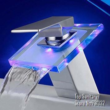 TB2017 hot sale discount LED LIGHT Glass Waterfall Bathroom Basin FAUCET polished Lavabo torneira banheiro cozinha hansgrohe(China (Mainland))