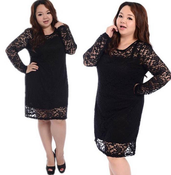 Hot 2014 grande taille dentelle élégante robe de vêtements pour femmes de taille plus graisse. femelle, à manches longues robes de haute qualité vêtements grande dame