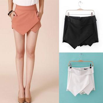 Women's Summer Fashion Candy Colors Chiffon Tiered Zipped-up Short Mini Shorts Pants Skirts W3233