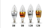 10PCS Wholesale 12W/15W DIMMABLE E14 LED bulb candle light silver shell Cool/ Warm White Spot Light,spotlight forhome