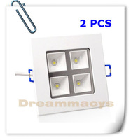 2 pcs warm white /white High power LED SMD Grille Cabinet Light Panel Recessed Lamp 4W 85-265V