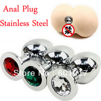 Metal Anal Plug, Butt Plug,Booty Beads,Stainless Steel+Crystal Jewelry Size 75X30mm Anal sex toys for man and women sex products