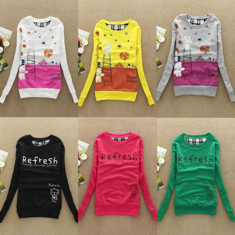2013 Autumn and winter fashion printed women womens ladies Cotton sweatshirt hooded cartoon hoody hoodies coat Free shipping(China (Mainland))
