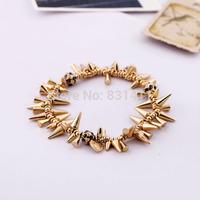 Famous Brand Celebrity Gold Plated Skull Spike Rivet Renegade Cluster Bracelet Free Shipping