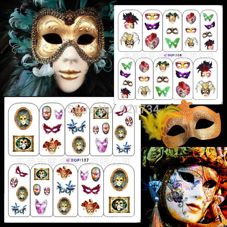 2 Pcs 2014 NewEST water nail stamp art stickersbop106-107 Renaissance Mask(China (Mainland))