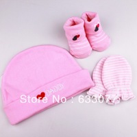 Newborn baby Hats+ Gloves+ Socks 3pcs set Cartoon embroidered cotton baby suit boy  and  girl  5pairs/lot