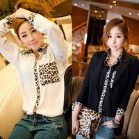 Spring 2014 Female Blouse Shirt Women Korean Style Fashion Casual Long Sleeve Patchwork Chiffon Leopard Shirts For Women 2013