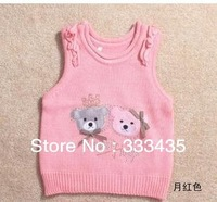 Girls tank tops sweaters pretty bow cotton lineTank dresses children Cardigan/Vest Free Shipping