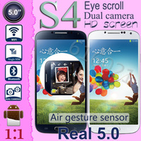 "Smart scroll Air gesture i9500 s4 phone Dual Shot MTK6572 Dual Core Android 4.2 Real 5.0"" HD screen GPS 3G Mobile Phone"