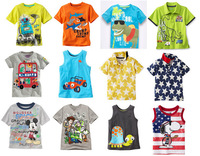 retail new 2014 12M~6T kid apparel brand baby clothing tops cotton multi styles cartoon casual baby boys t shirt