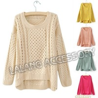 FREE SHIPPING! Women outerwear 2013 women's all-match shirt , long-sleeve sweater,Loose Hollow Pullover Knitwear Sweater 652877