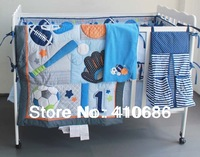 Blue Base Ball Sports Boy Baby Crib Bedding set Embroidered Comforter Bumpers Sheet Nappy bag Blanket for babies cot kit