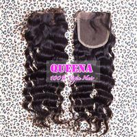 Brazilian Virgin Hair Closure Side/Middle/Free/3 Part Lace Closure Brazilian Hair Deep Wave Curly 4x4 Bleached Knots Top Closure