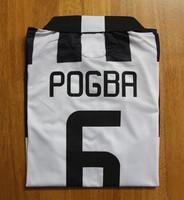 Men Soccer Jersey 2014 15 U ventus Paul Pogba # 6 Futbol Uniform Black And White Striped Color @ Embroidery Logo @ Side Holes