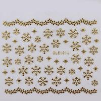 8 Designs Gold Silver Snowflake Nail Art Christmas Stickers 32 sheets/lot Free Shipping