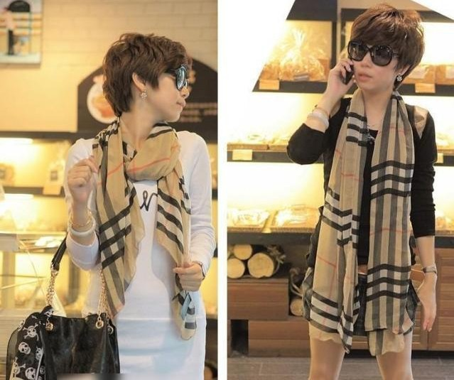 New Arrive Fashion stripe plaid scarf Female models the velvet chiffon scarf super long scarf Women Scraf W4192(China (Mainland))