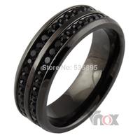 Men rings ,black crystyal rings ,stainless steel men wedding rings  free shipping