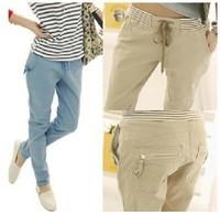 harem pants women  casual slim pocket loose Harem denim jeans sport pants 3 color plus size S -XXL  women trousers
