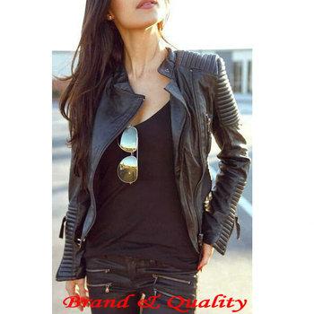 2014 New Fashion Autumn Winter Women Brand Faux Soft Leather Jackets Pu Black Blazer Zippers Long Sleeve Motorcycle Coat