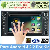 Pure Android 4.2 Car DVD Player for Kia Ceed Cerato Sorento Rio Optima Sportage GPS Navigation Radio Russian menu Built-in WiFi
