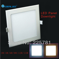 Free shipping square led panel light 3 pieces / lot New Ultra thin design Downlight indoor lighting AC90-250V