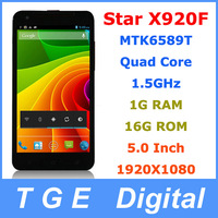 Star Ulefone X920F Cell Phones MTK6589T Quad Core 5.0 Inch 1920x1080 Android 4.2 1G RAM 16G ROM Russian Language Smartphone