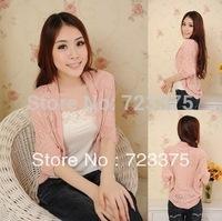 2014 South Korea brand women bat sleeve sweater thin knitting cardigan falbala little cape coat hollow out The shawl sweater
