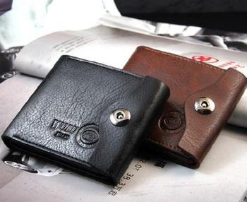 Purse Wallets for men Hot Sale 2014 Men's casual suction Buckle Leather Wallet Men Wallets Leather Man Purse Wallet Clip