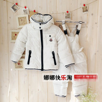 Freeshipping 1pcs White Down Suits for Baby / children Fashion Jacket Coat + Overall Pant Warm Children Winter Jacket