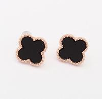 jewelry Wholesale sweet new acrylic 4 leaves Clover stud earrings rose gold plated women metal flower earrings 2 colors 99494