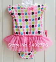 6 pcs/lot baby clothing 0-24 month children clothing manufacturers china baby jumpsuits kitty dot lace bodysuit TLZ-L0054