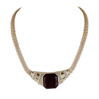 Latest Fashion White Simulated Gemstone Punk Style Wholesale Gold Plated Color Big Pendant Alloy Collar Necklace For Women
