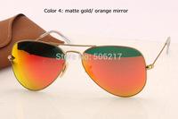 100% UV fashion men women aviator brand sunglasses 3025 flash lens orange mirror metal frame 112/69  new with case cloth